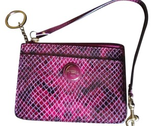 Coach Coach exotic snake embossed Raspberry leather ID skinny wallet