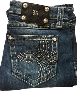 Miss Me Embellished Crystal Studded Boot Cut Jeans-Distressed