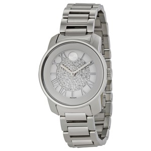 Movado Crystal Pave Dial Silver Stainless Steel Designer Ladies Watch