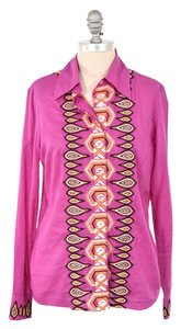 Tory Burch Aztec Embroidered Vibrant Button Down Shirt Magenta