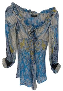 Roberto Cavalli Silk Print Resort Top Multicolor