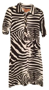 Tory Burch short dress Ivory/brown zebra print on Tradesy