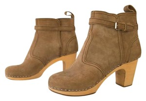 swedish hasbeens Suede Buckle Wood Clog Taupe Boots
