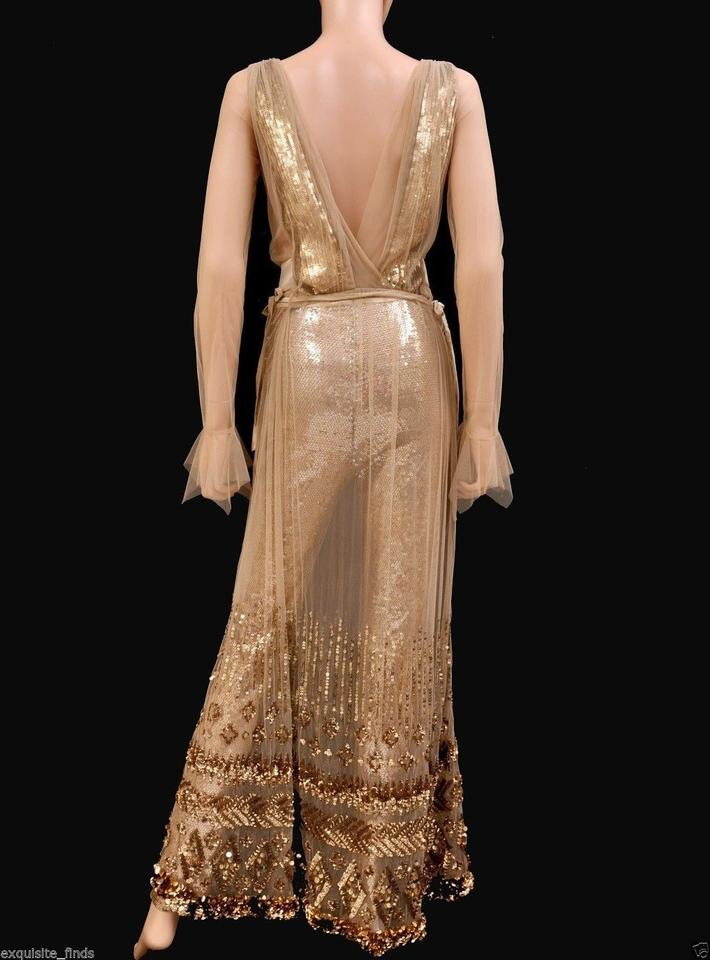 Tom Ford Gold New Nude Embellished Chiffon W/ Sequin Pants Long ...