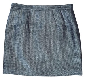 BB Dakota Textured Metallic Holiday Skirt Silver