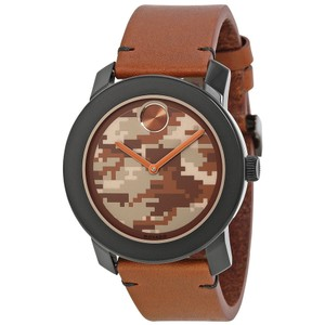 Movado Brown Camo Print Dial Leather Strap Designer Casual Watch