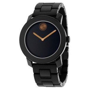 Movado Black TR90 Stainless Steel Bronze Hands Designer MENS Watch