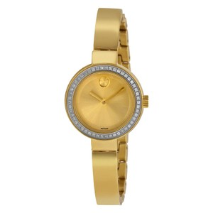 Movado Diamond Pave Bezel Gold Stainless Steel Bangle Designer Watch