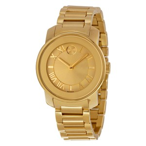 Movado Gold Stainless Steel Designer Casual Dress Ladies Watch