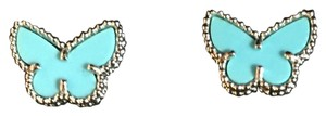 Van Cleef & Arpels Van Cleef & Arpels Rare Turquoise Sweet Alhambra Butterfly Earrings W/ Receipt & Authenticity Card