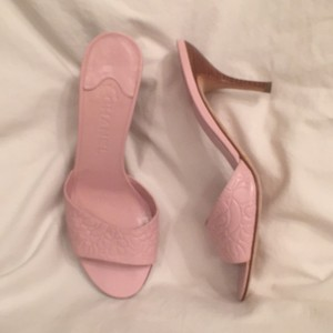 Chanel Logo Slide-ons Mules Leather Light Pink Sandals