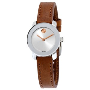 Movado Silver Stainless Steel Brown Leather Strap Designer Ladies watch