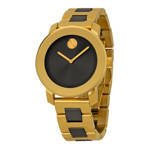Movado Black Dial Gold Stainless Steel Designer Ladies Casual Watch