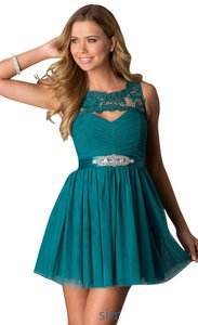 Sequin Hearts Homecoming Short Lace Illusion Prom Dress