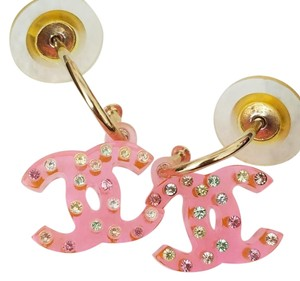 Chanel Chanel pink charm Earrings multi color swavorski crystals