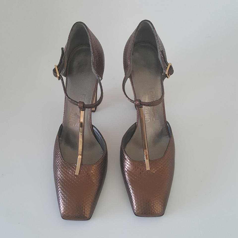 salvatore ferragamo metallic t strap brown pumps on sale 87 off pumps on sale. Black Bedroom Furniture Sets. Home Design Ideas