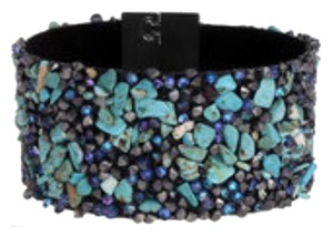 Anthropologie Turquoise beaded & leather bracelet