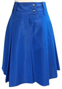 J.Crew Collection Flared Pleated Silk Classic Skirt Dark Blue