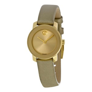 Movado Gold Stainless Steel Olive Leather Strap Designer Ladies Watch