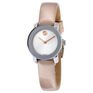 Movado Silver Stainless Steel Pink Metallic Leather Strap Designer Watch