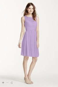 David's Bridal Hydrangea (Lavender) Short Mesh Dress With Sweetheart Illusion Neckline Dress