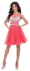 Tony Bowls Short Homecoming Prom Illusion Beaded Dress