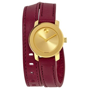 Movado Gold Stainless Steel Burgundy Wrap Leather Strap Designer Watch