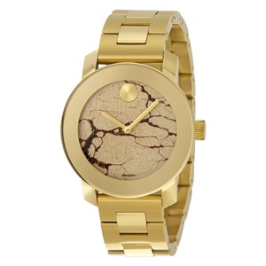 Movado Gold Crackle Dial Stainless Steel Designer Ladies Casual Watch