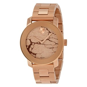 Movado Rose Gold Glitter Crackle Dial Stainless Steel Designer Watch