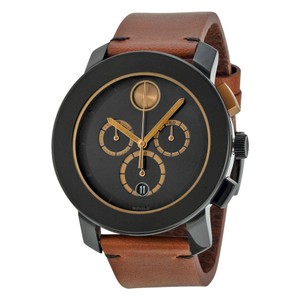 Movado Black TR90 Case Brown Leather Strap Designer MENS Watch