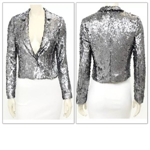 7 For All Mankind Holiday Celebrity Sequins Top Silver Pewter Platinum