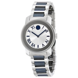 Movado Silver and Blue Stainless Steel Designer Ladies Casual Watch