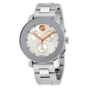 Movado Silver tone Stainless Steel Rose Gold Unisex Designer Watch