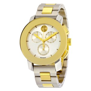 Movado Two Tone Silver and Gold Stainless Steel Unisex Designer Watch