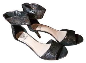 Vince Camuto Stylish Dressy Blac and Silver Sandals
