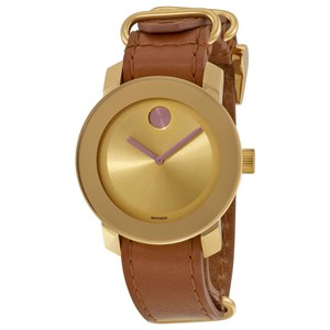 Movado Gold Dial Stainless Steel Brown Leather Strap Designer Watch