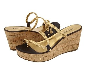 Kate Spade Nwot Wedge Platform Braided Gold Sandals