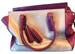 Coach Tote in Burgandy and Tan