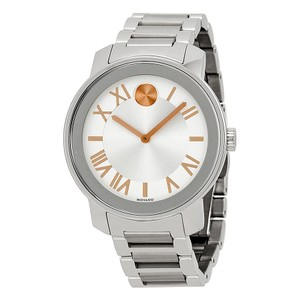 Movado Silver Stainless Steel Rose Gold Unisex Designer Casual Watch