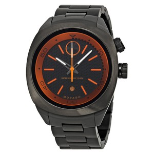 Movado Gunmetal Ion Plated Stainless Steel Orange Trim MEN Watch