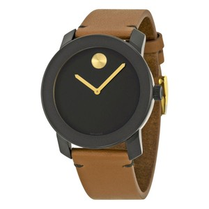 Movado Black Stainless Steel Brown leather Strap Designer MENS Watch