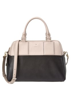 Kate Spade Summit Court Brantley Leather Satchel in Black / Mousse Frosting