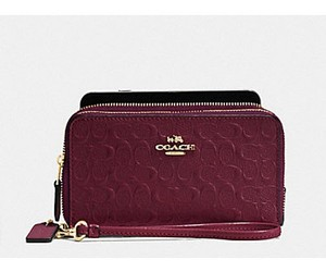 Coach DOUBLE ZIP PHONE WALLET SIGNATURE DEBOSSED PATENT COACH 54808 Nwt