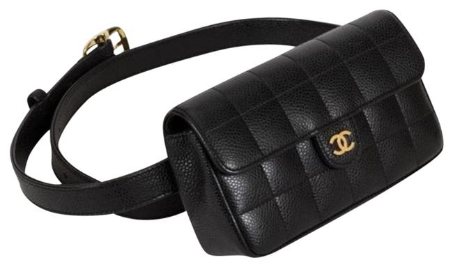 Item - Classic Flap Vintage Square Fanny Pack Black Lambskin Leather Cross Body Bag