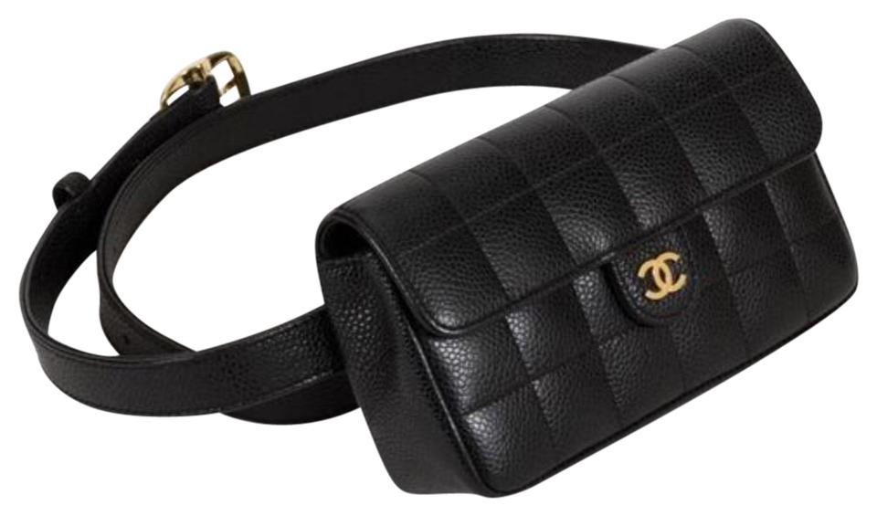 Chanel Classic Flap Vintage Square Fanny Pack Black Lambskin Leather Cross  Body Bag e7b752e158aeb