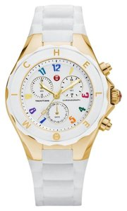 Michele NWT MICHELE LARGE CASE JELLY BEAN GOLD / WHITE WATCH MWW12F000043