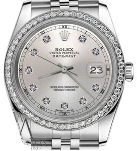 Rolex Men`s Rolex 36mm Datejust Silver Color Dial with Diamond Accent Watch