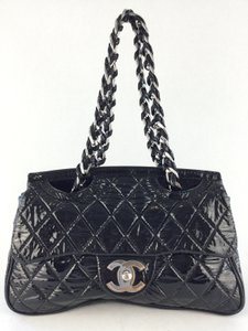 Chanel Quilted Patent Satchel in Black