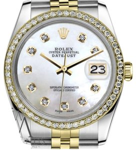 Rolex Men`s 36mm Datejust 2 Tone White Mother of Pearl Dial Diamond