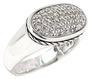 David Yurman size 6, sterling silver, Pave diamond, statement ring